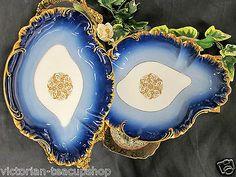 SET OF 2 HAVILAND LIMOGES FRANCE 1880'S COBALT BLUE & GOLD TRAY PLATTER