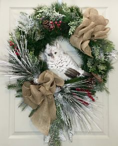Snowy Owl Christmas or Winter Pine Wreath by WilliamsFloral