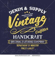 Typography vintage Denim brand logo print for t-shirt. Retro artwork vector illustration