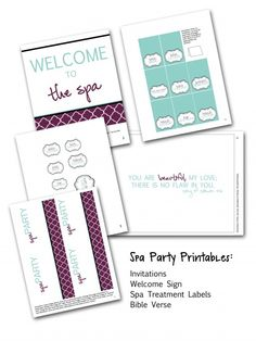 Spa Party Printables  http://2busybrunettes.com/2012/05/22/spa-party/