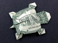 Dollar Bill Origami TURTLE  Great Gift Idea  by VincentTheArtist, $8.99
