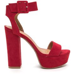 Stand Tall Chunky Ankle Strap Platforms ($22) ❤ liked on Polyvore featuring shoes, sandals, red, platform sandals, wide width sandals, red shoes, red high heel sandals and red ankle strap sandals