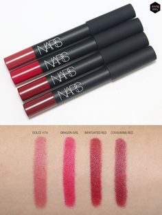 NARS Velvet Matte Lip Pencil: DOLCE VITA, DRAGON GIRL, CONSUMING RED, INFATUATED RED review swatch |youngstory