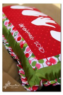 """holiday handprint pillow - I like the idea of having a holiday """"something"""" every year with things like handprints, although a pillow would be pretty large to store one of each year. Perhaps just a small hanging """"quilt"""" that could be easily stored in a box?"""
