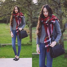 María Rubio - Zara Scarf, Mango Sweater, Zara Bag, Zara Jeans, Stradivarius Shoes - Tartan