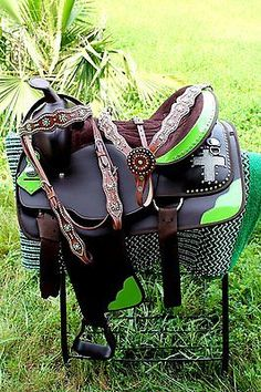 Western Cordura Trail Barrel Pleasure Horse SADDLE Bridle Tack Lime Green 4984
