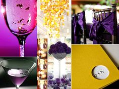 Wedding details, including purple cocktails and gold chandeliers, from this Lakers-inspired wedding Purple And Gold Wedding, Gold Wedding Colors, Yellow Wedding, Wedding Color Schemes, Purple Gold, Damask Wedding, Gothic Wedding, Colour Schemes, Summer Wedding