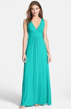 V-Neck Stretch Knit Maxi Dress