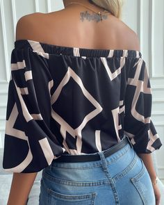 Trend Fashion, Fashion Outfits, Dressy Casual Outfits, Chic Type, Sleeve Styles, Color Blocking, Blouses For Women, Shoulder, Tops