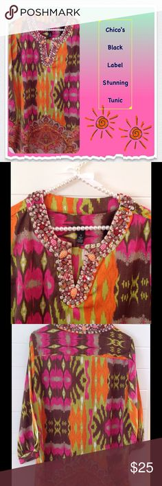 """🎀Chico's Stunning Black Label Tunic💝 Chico's Black Label Tunic.  Gorgeous colors and beading at neckline.  Sleeves are cut out from shoulder to cuff.  Length is 30"""".  97% polyester;  3 % spandex.  Machine Washable.  Chico's size 1 is a medium. Only worn a couple of times.  Like brand new. Chico's Tops Tunics"""