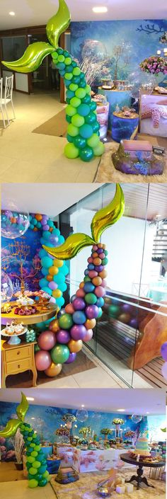 63 Super Ideas Birthday Girl Party Decorations Little Mermaids Mermaid Theme Birthday, Little Mermaid Birthday, Little Mermaid Parties, The Little Mermaid, Birthday Party Themes, Girl Birthday, Girls Party Decorations, Balloon Decorations, Mermaid Balloons