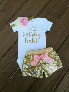 Personalized half birthday shirt half way to one baby all in one half birthday pink and gold outfit six month birthday outfit girls negle Image collections