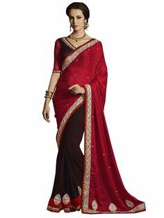 Melluha Royal Red Satin Designer Saree