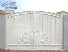Wrought Iron Driveway Gate - DG0350 Wrought Iron Driveway Gates, Metal Gates, Double Gate, Double Doors, Door Gate, Block Wall, Entrance, Las Vegas, Chandelier