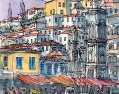 Santorini Oia 2 Greece art print from an original watercolor