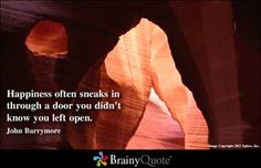 """Happiness often sneaks in through a door you didn't know you left open.""   John Barrymore"