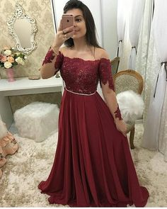 Burgundy Chiffon Lace Prom Dress with Full Sleeves Custom Made Beaded School Dance Dresses Fahion Long Appliques Evening Party Dresses in 2020 Straps Prom Dresses, Homecoming Dresses, Quinceanera Dresses, Elegant Dresses, Formal Dresses, Party Dresses, School Dance Dresses, Cocktail Gowns, Junior Dresses