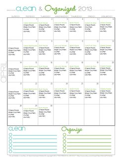 Clean + Organized - FREE April Cleaning Calendar - Clean Mama