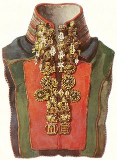 A goldwork collar of a traditional Sámi woman's gákti i. a national garment (folk costume) from Scandinavia. This gákti has a metal embroidery collar with pewter or silver thread and traditional Sámi silver jewellery buckles. Lappland, Gold Work, Ethnic Jewelry, Silver Jewellery, Folk Costume, Ethnic Fashion, Traditional Dresses, Culture, Embroidery