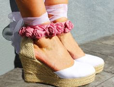 AUDREY PLATFORM Wedge Lace Up Bridal Dance Espadrille by IBICENCAS