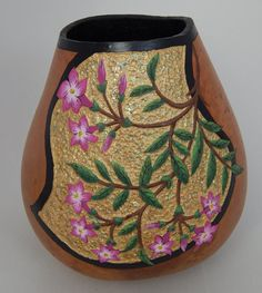 Gourd art pink jessamine flowering vine by BeautifulGourdArt