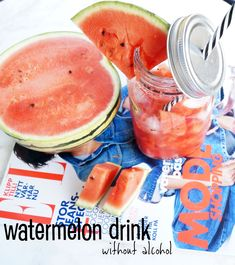 TASTY WATERMELON DRINK WITHOUT ALCOHOL #drink #summerdrink #watermelon #recipe #welcomedrink Welcome Drink, Summer Drinks, Diy Food, Watermelon, Alcohol, Tasty, Fruit, Recipes, Summer Beverages
