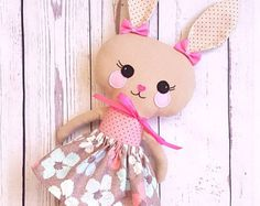 Fabric bunny-Rabbit present-Easter-Rag doll-Dress up girl bunny-Gift for babies-Toddlers-Toy-Softy-Babyshowers-Cuddle Couture Main, Dolls And Daydreams, Tilda Toy, Fabric Toys, Bunny Plush, Cat Doll, Sewing Dolls, Animal Pillows, Love Sewing
