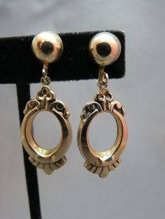 VTG Marino Victorian Inspired Screw Back  Earrings Gold Plated Dangle Reagal  #Marino
