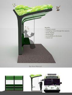 Simple bus pick up With succulents Landscape Architecture Design, Green Architecture, Sustainable Architecture, Sustainable Design, Urban Design Diagram, Urban Design Plan, Bus Stop Design, Parque Linear, Bus Shelters