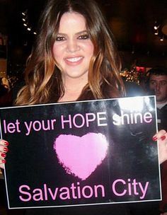 Khloe Kardashian Odom supporting Salvation City's HOPE Poster Campaign for suicide prevention and awareness.