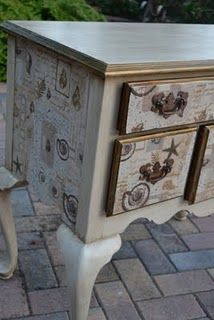 Fabric decoupage on painted chest...or use wrapping paper or book pages or wallpaper.