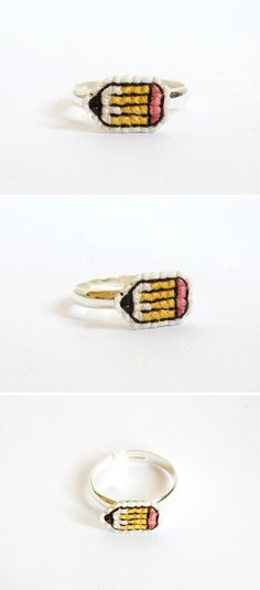 Even if you're not going back to school, you can still rock a cross stitch pencil ring
