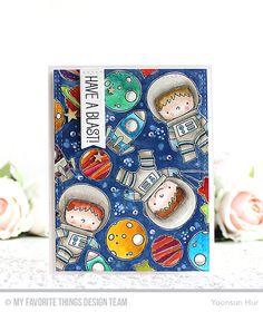 Space Explorer Stamp Set and Die-namics, Wonky Stitched Rectangle STAX Die-namics, Blueprints 29 Die-namics - Yoonsun Hur #mftstamps