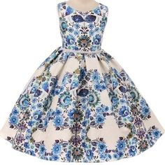 1768e2a0cc31e Flower Girl Dress 3D Textured Floral Print Pearl Waist Blue KD 380 Girls  Dresses Online,