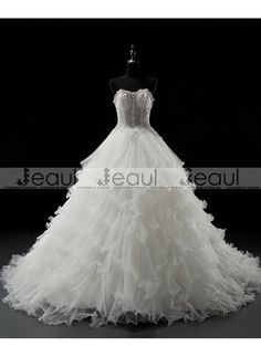 Ball Gown Luxury Diamonds Bra Floor-length Long Court Train Wedding Dress