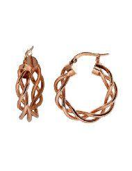 14k Rose Gold Italian Fancy Woven Tube 15mm Hoop Earrings