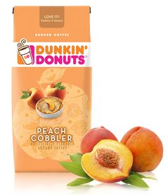 Dunkin' Donuts Peach Cobbler ~ Love IT! (before it leaves) Coffee - I think it's delicious, contrary to popular opinion. Just needs plenty of cream and sugar. It has a surprisingly clean peachy aftertaste ツ Donut Peach, Coffee Line, Coffee Favors, Different Types Of Coffee, Shades Of Peach, Dunkin Donuts Coffee, Toasted Almonds, Cream And Sugar, Cobbler