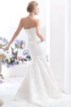 Divine Trumpet-Mermaid Strapless Dropped Court Train Tulle and Lace Ivory Sleeveless Lace Up-Corset Wedding Dress with Appliques and Beading CWLT130F3cocomelody#weddingdress#bridal#gown#
