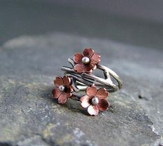 Cherry blossom adjustable ring
