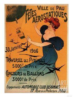 Pau, France - Red-Headed Woman Awaits Balloons Birds Poster