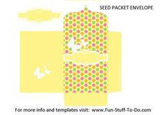 Seed Packet Envelope Yellow: Here's a seed packet envelope template in three different polka dot colors, with little butterflies. Another free printable with love and light from us