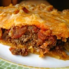 Taco Pie. I'm going to try this with my homemade mexican shredded beef I make often. Better than ground beef with taco seasonings!