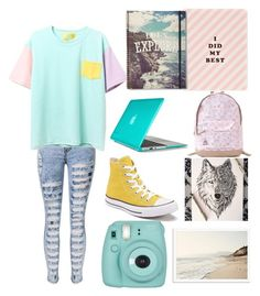 """""""Back to school"""" by rieynda-sahmari ❤ liked on Polyvore featuring Converse, Pusheen, Speck, ban.do and Fujifilm"""
