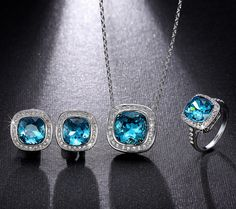 Shop White Gold Plated Blue Crystal Jewelry Set from Casualbugtech, with Free Estimated Delivery Time:12-20days Item Type:Jewelry Sets Fine or Fashion:F...