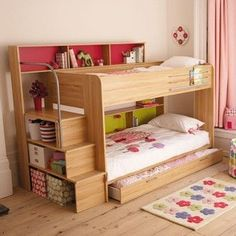 children's bunk beds with a mini staircase