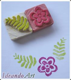 FLower and leaf hand-carved rubber stamp by IdeandoArt. Fabric Stamping, Stamping Up, Stamp Printing, Printing On Fabric, Homemade Stamps, Eraser Stamp, Stamp Carving, Wood Stamp, Polymer Clay Creations
