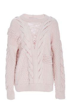 Pink Wool Cashmere V Panel Sweater  by PRABAL GURUNG Now Available on Moda Operandi