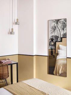 Galerie – Hôtel Doisy Etoile, Paris Les Ternes Headboard white black straw rattan Source by syldetco Estilo Soho, Half Painted Walls, Home Furniture, Furniture Design, White Headboard, Hotel Interiors, Wall Colors, Colorful Interiors, Home Interior Design