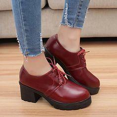 17.99  Femme Chaussures Similicuir Printemps Automne Confort Gros Talon  Lacet Pour Décontracté Noir Rouge 2c5843e6e5b8