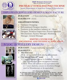 Degree / Diploma in Jewellery Design @ SNDTWU: Diploma / Degree in Jewellery Design and Manufactu...